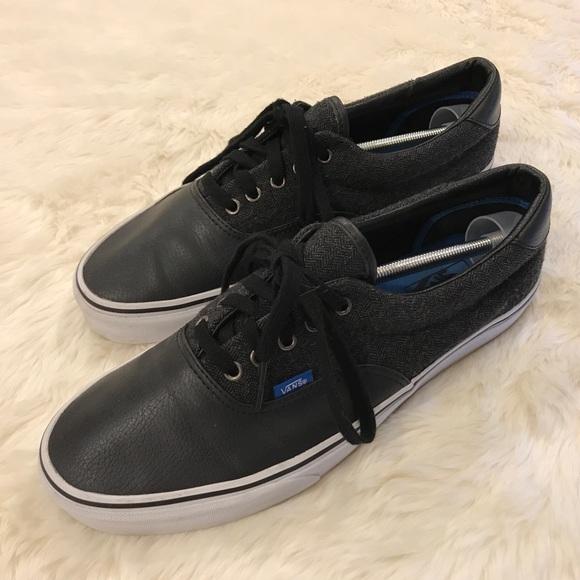 1c8a1243b6 Vans Black Vegan Leather and Charcoal Wool. M 5b47ade012cd4a62cb978ef2